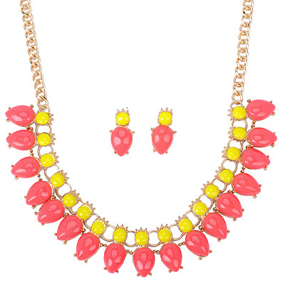 Faddish Watermelon Color Gemstone Decorated Waterdrop Shape Design Alloy Jewelry Sets