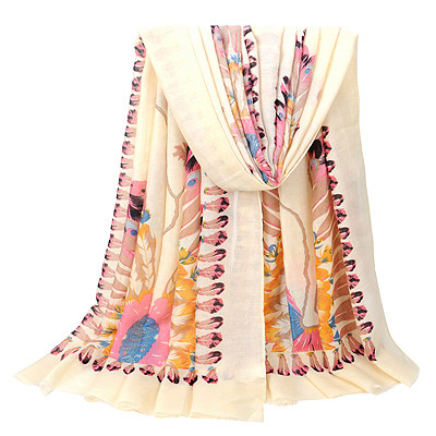 Crinkle Beige Peacock Pattern Simple Design Voile Thin Scaves