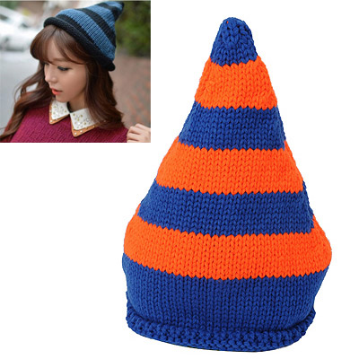 Pretty Orange & Blue Stripes Pattern Simple Design Wool Knitting Wool Hats