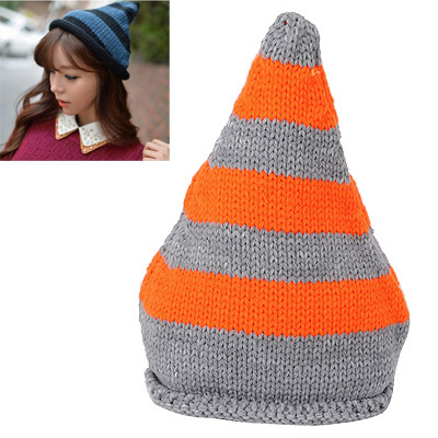 Stretch Orange & Gray Stripes Pattern Simple Design Wool Knitting Wool Hats