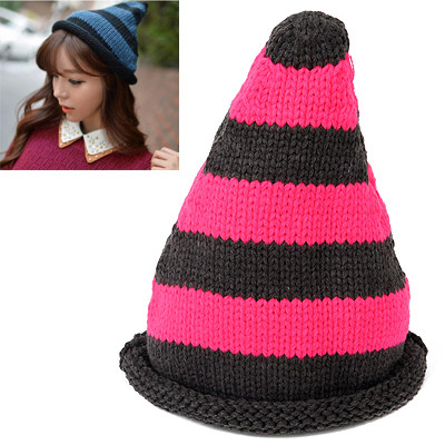Chic Dark Gray & Plum Red Stripes Pattern Simple Design Wool Knitting Wool Hats