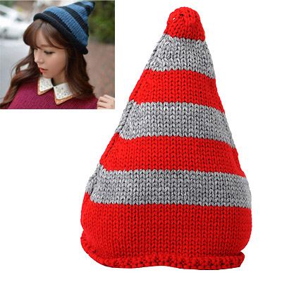 Huge Gray & Red Stripes Pattern Simple Design Wool Knitting Wool Hats