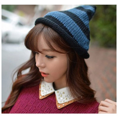 Liquid Black & Dark Blue Stripes Pattern Simple Design Wool Knitting Wool Hats