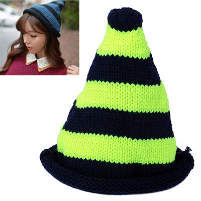 Baltic Fluorescent Green & Navy Blue Stripes Pattern Simple Design Wool Knitting Wool Hats