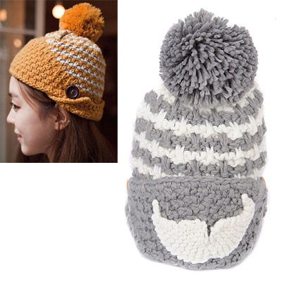 Crinkle Gray Beard Pattern Simple Design Wool Knitting Wool Hats