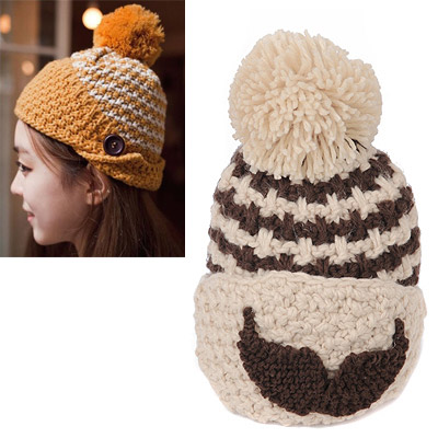 Initial Beige Beard Pattern Simple Design Wool Knitting Wool Hats