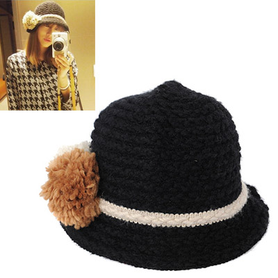 Pendants Black Big Ball Decorated Simple Design Wool Knitting Wool Hats