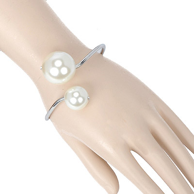 Aquamarine Silver Color Pearl Decorated Simple Design Pearl Fashion Bangles