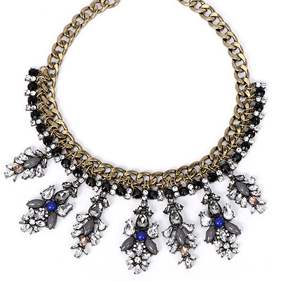 Gothic Blue Diamond Decorated Bee Shape Design Alloy Bib Necklaces