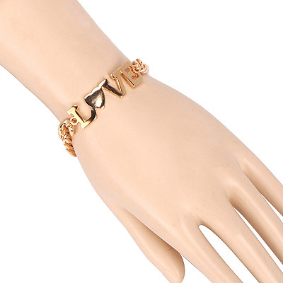 Pierced Gold Color Letter Love Decorated Simple Design Alloy Korean Fashion Bracelet