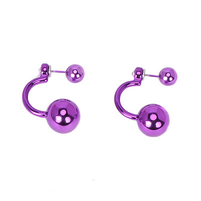 Magnifying Purple Imitation Pearl Decorated Curved Design Acrylic Stud Earrings