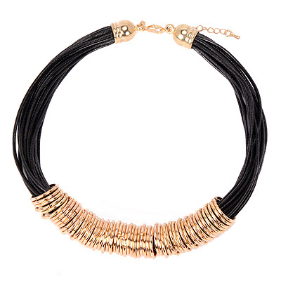 Floating Gold Color Metal Decorated Multilayer Design Alloy Bib Necklaces