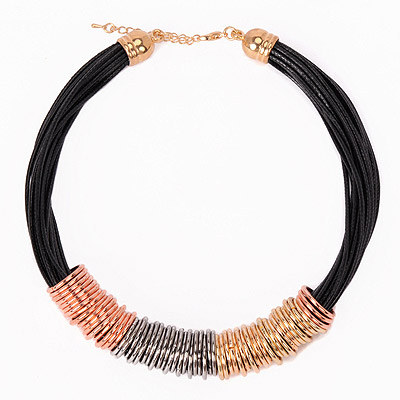 Boutique Multicolor Metal Decorated Multilayer Design Alloy Chokers