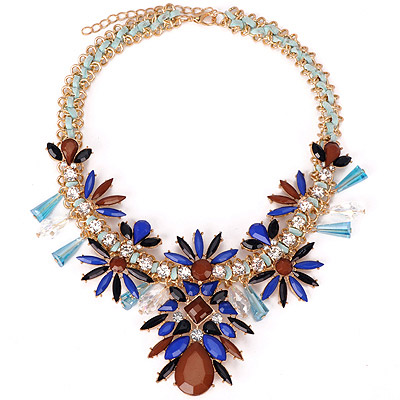 Cute Coffee Gemstone Decorated Petals Shape Design Alloy Bib Necklaces