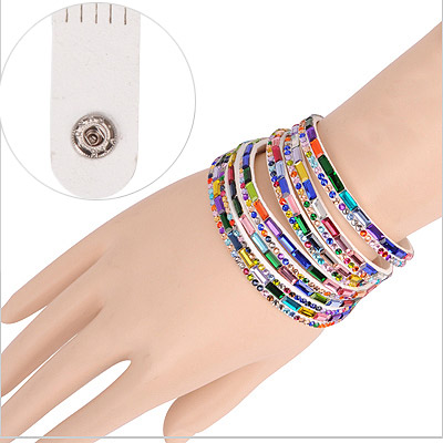 Bohemian White Multilayer Simple Design Acrylic Korean Fashion Bracelet
