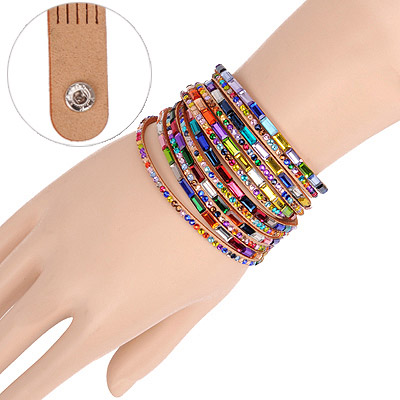 Outdoor Khaki Multilayer Simple Design Acrylic Korean Fashion Bracelet