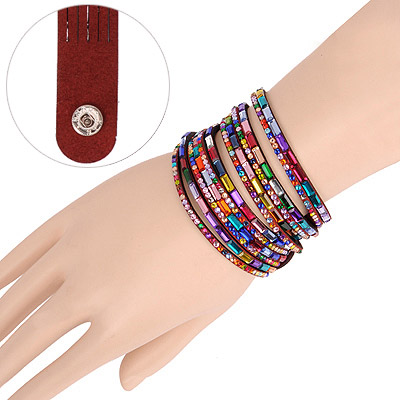 Alternativ Claret-red Multilayer Simple Design Acrylic Korean Fashion Bracelet