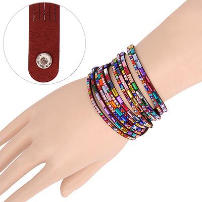 Alternativ Claret-red Multilayer Simple Design Acrylic Korean Fashion Bracelet