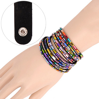 Reflective Black Multilayer Simple Design Acrylic Korean Fashion Bracelet
