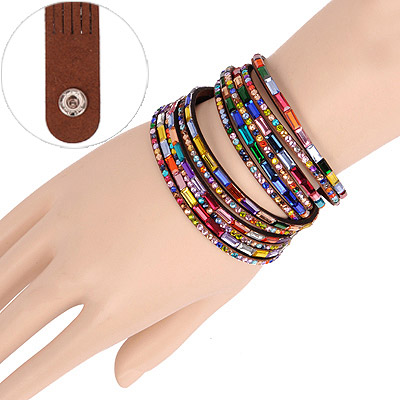 Nameplate Brown Multilayer Simple Design Acrylic Korean Fashion Bracelet