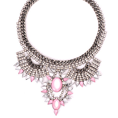 Tory Pink Gemstone Decorated Oval Pendant Design Alloy Bib Necklaces