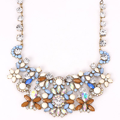 Satchel Blue Gemstone Decorated Flower Design Alloy Bib Necklaces