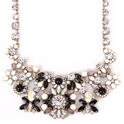 Hemming Black Gemstone Decorated Flower Design Alloy Bib Necklaces
