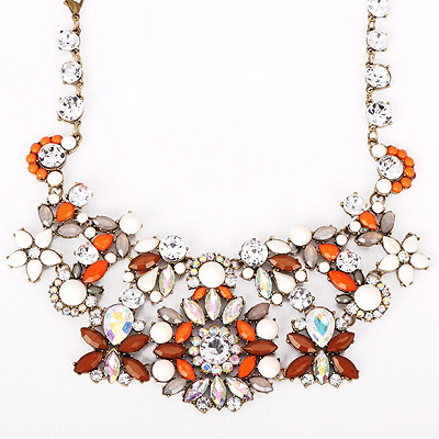 Noble Orange Gemstone Decorated Flower Design Alloy Bib Necklaces