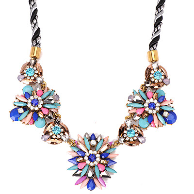 Maturnity Multicolor Gemstone Decorated Flower Design Alloy Bib Necklaces