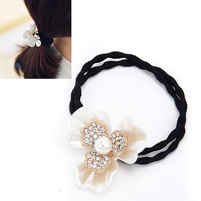 Spiritual White Diamond Decorated Flower Design Rubber Band Hair band hair hoop