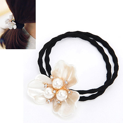 Invitation White Diamond Decorated Flower Design Rubber Band Hair band hair hoop