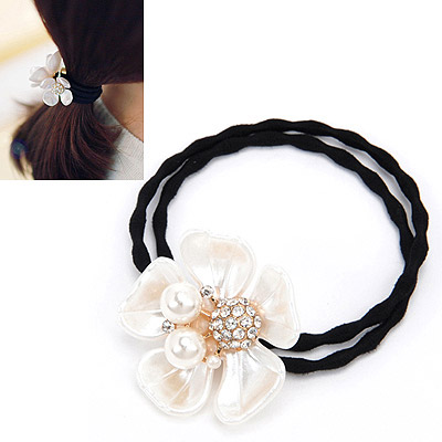 Beautiful White Diamond Decorated Flower Design Rubber Band Hair band hair hoop