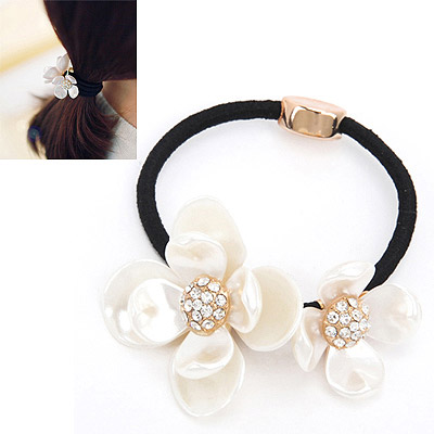 Players White Diamond Decorated Flower Design Rubber Band Hair band hair hoop