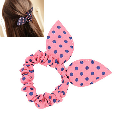 Cranes Pink & Navy Blue Dot Pattern Bowknot Shape Design Chiffon Hair band hair hoop