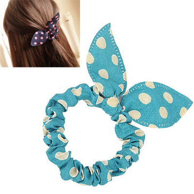 Plus Size Green & Beige Dot Pattern Bowknot Shape Design Chiffon Hair band hair hoop