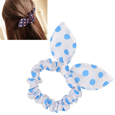 Oval White & Blue Dot Pattern Bowknot Shape Design Chiffon Hair Band Hair Hoop