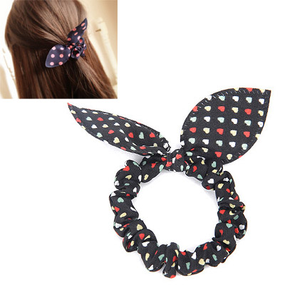 Bead Black Heart Pattern Bowknot Shape Design Chiffon Hair Band Hair Hoop