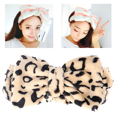 Lucky Beige Leopard Pattern Bowknot Shape Design Flannel Hair band hair hoop
