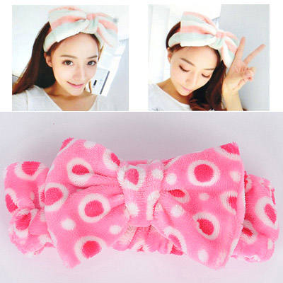 Security Plum Red Dot Pattern Bowknot Shape Design Flannel Hair band hair hoop