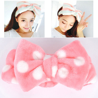 Stationery Pink Dot Pattern Bowknot Shape Design Flannel Hair band hair hoop