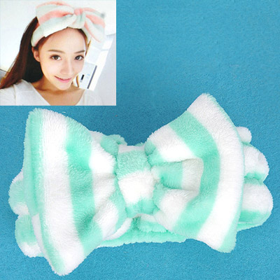 Magic Green & White Stripes Pattern Bowknot Shape Design Flannel Hair band hair hoop