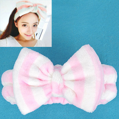 Scrabble Pink & White Stripes Pattern Bowknot Shape Design Flannel Hair band hair hoop