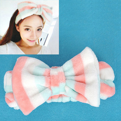 Mechanic Multicolor Stripes Pattern Bowknot Shape Design Flannel Hair band hair hoop