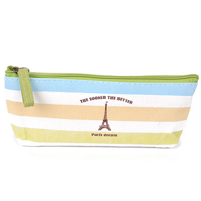 Quality Green Eiffel Tower Pattern Simple Design Canvas Pencil Case Paper Bags