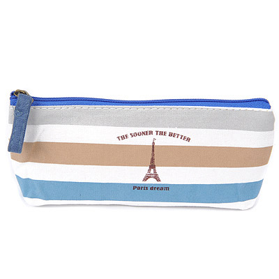 Physical Green Eiffel Tower Pattern Simple Design Canvas Pencil Case Paper Bags