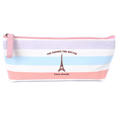 Winter Pink Eiffel Tower Pattern Simple Design Canvas Pencil Case Paper Bags