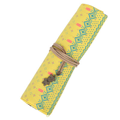 Locket Yellow Small Flower Pattern Simple Design Canvas Pencil Case Paper Bags