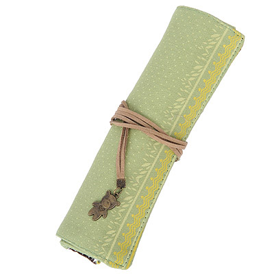Tribal Green Small Dot Pattern Simple Design Canvas Pencil Case Paper Bags