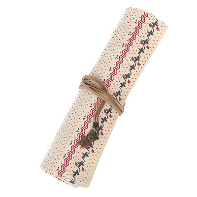 Promotiona Beige Small Flower Pattern Simple Design Canvas Pencil Case Paper Bags