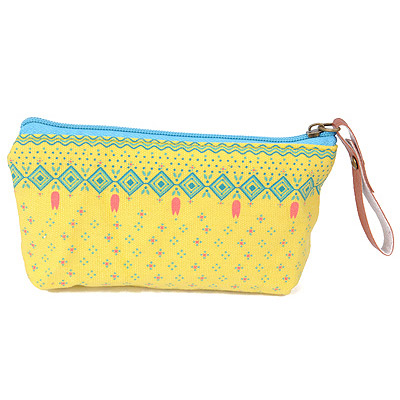Mexican Yellow Small Flower Pattern Simple Design Canvas Wallet